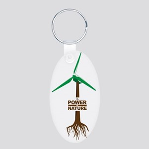 Roots of Green Energy Aluminum Oval Keychain