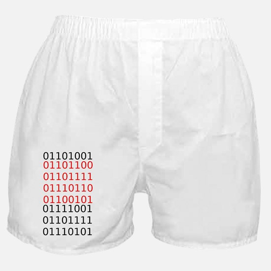 """Say """"I Love You"""" in binary code Boxer Shorts"""