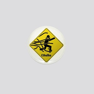 Caution:  Cthulhu Crossing Mini Button