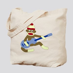 Sock Monkey Playing Blue Guitar Tote Bag