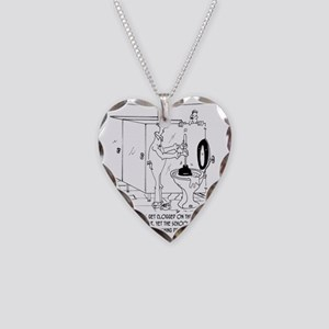 Toilet Clogs With Three Sheet Necklace Heart Charm