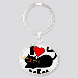 LOVE BLACK CATS Oval Keychain