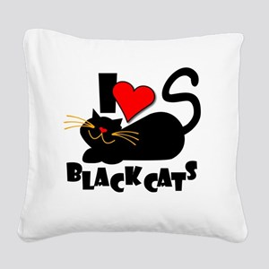 LOVE BLACK CATS Square Canvas Pillow