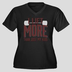 I Lift More  Women's Plus Size Dark V-Neck T-Shirt