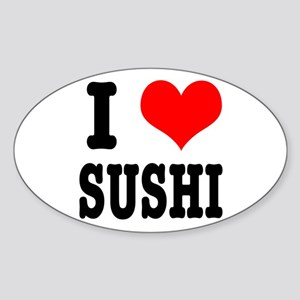 I Heart (Love) Sushi Oval Sticker