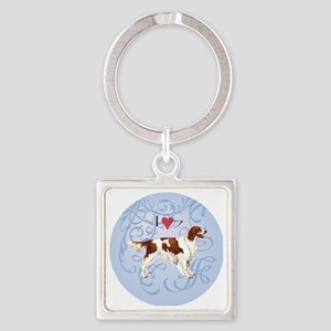 red-white-charm2 Square Keychain