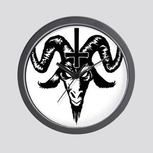 Satanic Goat Head with Cross Wall Clock