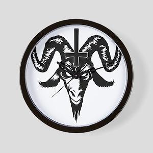 Satanic Goat Head with Cross Wall Clock