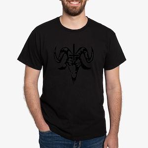 Satanic Goat Head with Cross Dark T-Shirt