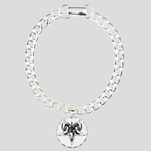 Satanic Goat Head with P Charm Bracelet, One Charm