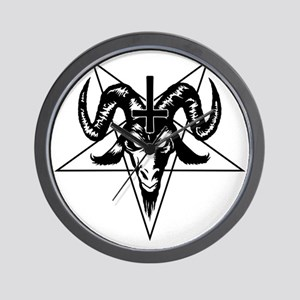 Satanic Goat Head with Pentagram Wall Clock