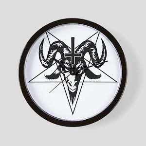 Satanic Goat Head with Pentagram Wall Clock