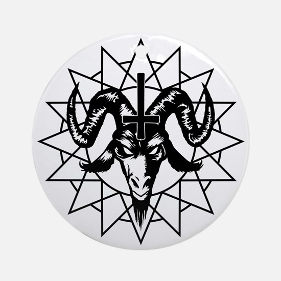 Satanic Goat Head with Chaos Star Round Ornament