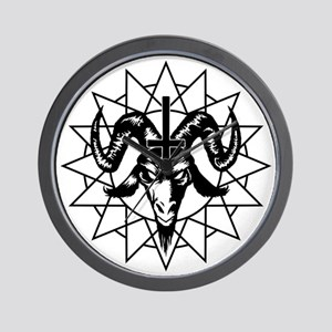 Satanic Goat Head with Chaos Star Wall Clock