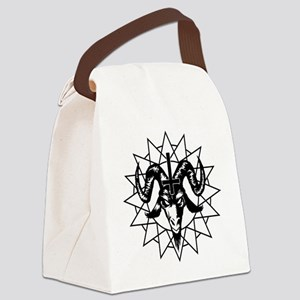 Satanic Goat Head with Chaos Star Canvas Lunch Bag