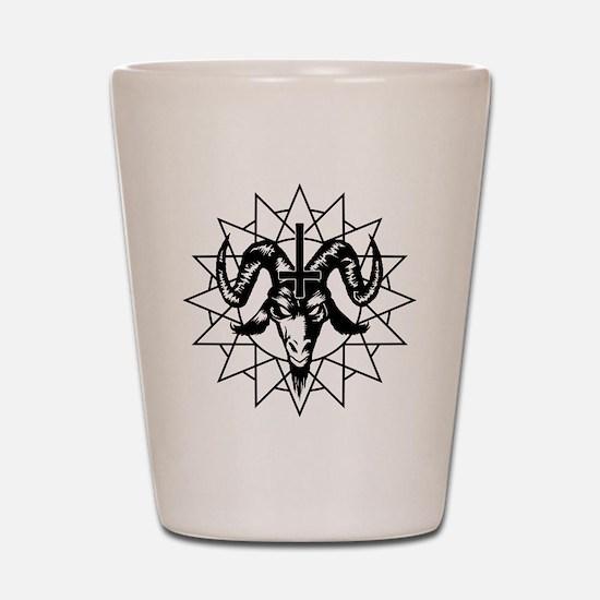 Satanic Goat Head with Chaos Star Shot Glass