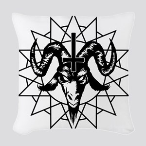 Satanic Goat Head with Chaos S Woven Throw Pillow