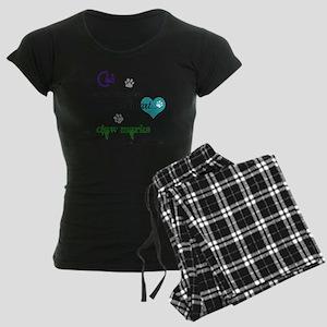 A cat leaves paw prints... Women's Dark Pajamas