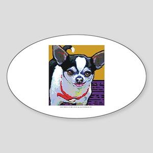 Black & White Chihuahua Oval Sticker
