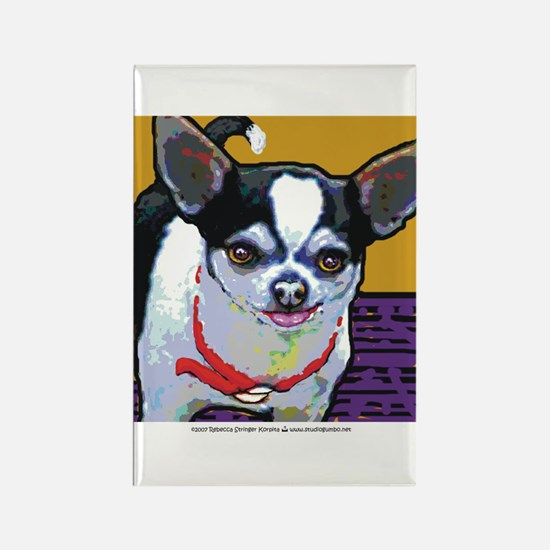 Black & White Chihuahua Rectangle Magnet