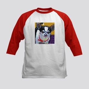 Black & White Chihuahua Kids Baseball Jersey
