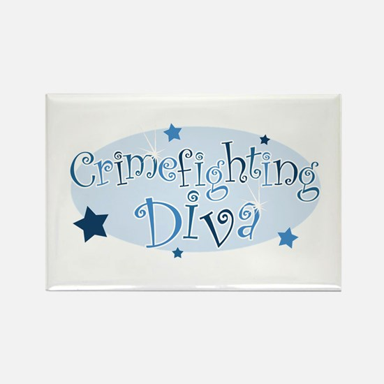 """Crimefighting Diva"" [blue] Rectangle Magnet"