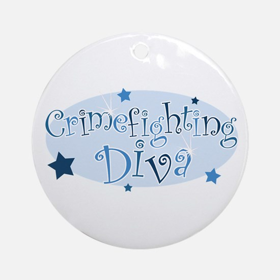 """Crimefighting Diva"" [blue] Ornament (Round)"