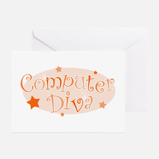 Computer Diva [orange] Greeting Cards (Package of