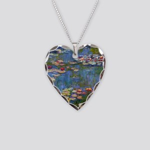 Water Lilies 1916 by Claude M Necklace Heart Charm