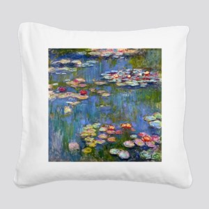 Water Lilies 1916 by Claude M Square Canvas Pillow
