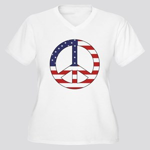 Peace Sign (American Flag) Women's Plus Size V-Nec