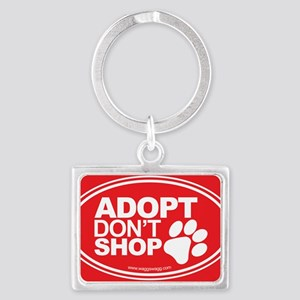 Adopt Dont Shop Red Landscape Keychain