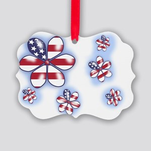 USA flag Flowers (sc) Picture Ornament