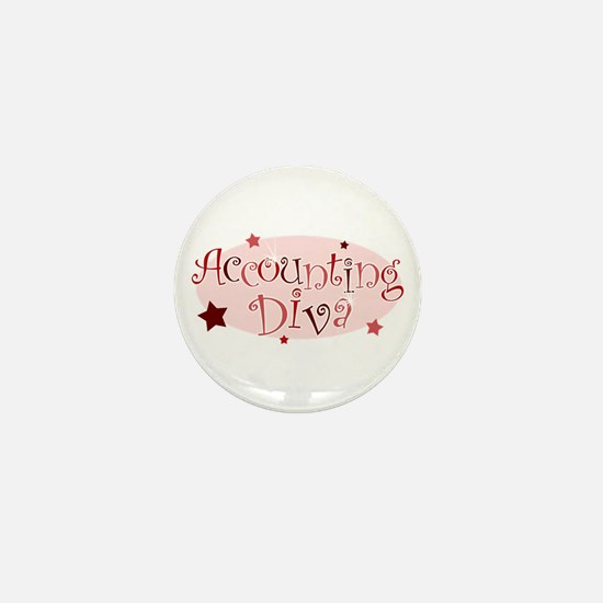 """Accounting Diva"" [red] Mini Button"