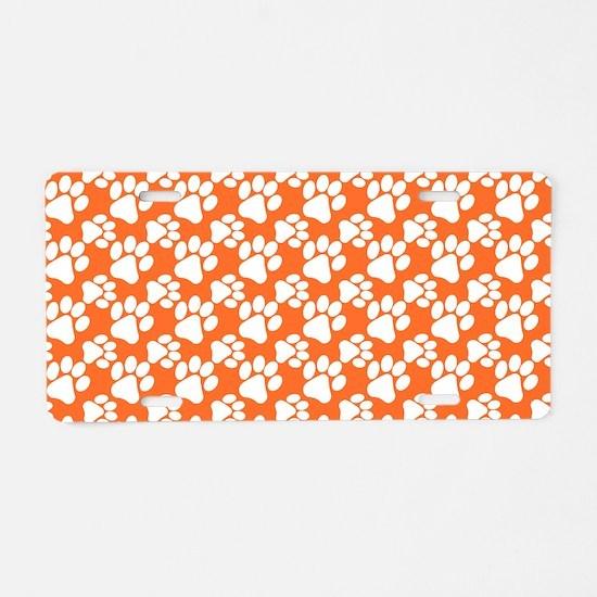 Dog Paws Clemson Orange Aluminum License Plate