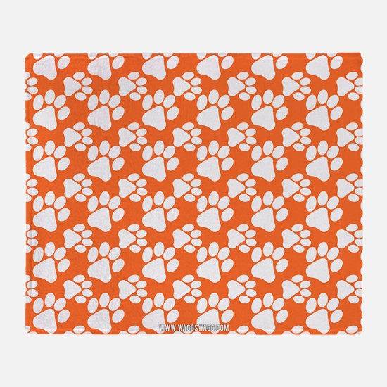 Dog Paws Clemson Orange Throw Blanket