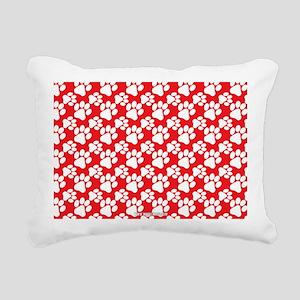 Dog Paws Red Rectangular Canvas Pillow