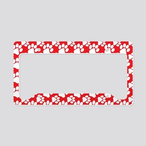Dog Paws Red License Plate Holder