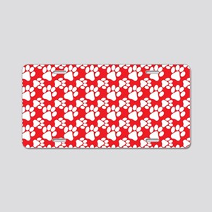 Dog Paws Red Aluminum License Plate