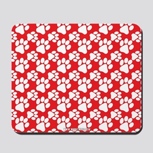 Dog Paws Red Mousepad