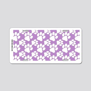 Dog Paws Light Purple Aluminum License Plate