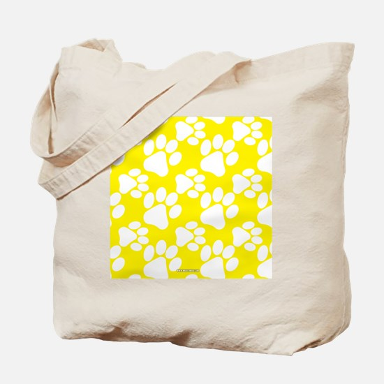 Dog Paws Yellow Tote Bag