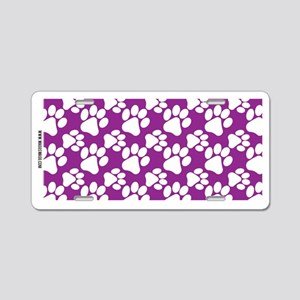 Dog Paws Purple Aluminum License Plate