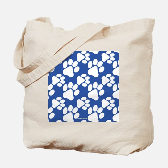 Dog Paws Royal Blue Tote Bag