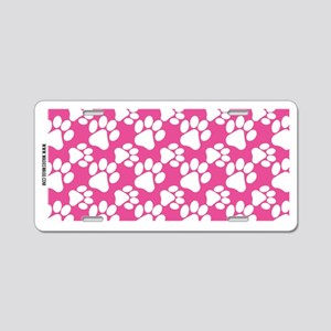 Dog Paws Bright Pink Aluminum License Plate