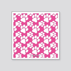 """Dog Paws Bright Pink Square Sticker 3"""" x 3"""""""