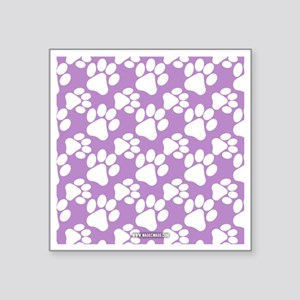 "Dog Paws Light Purple Square Sticker 3"" x 3"""