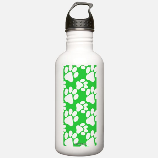 Dog Paws Green Water Bottle