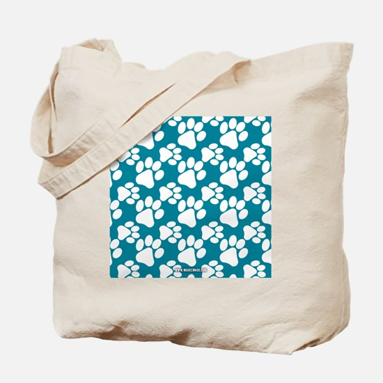 Dog Paws Teal Tote Bag