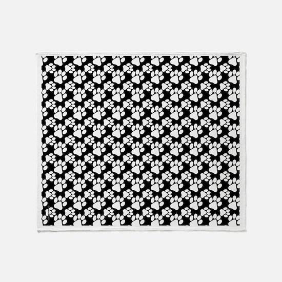 Dog Paws Black Throw Blanket